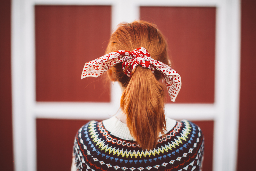 hair, scarf, and sweater image