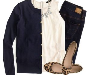 ballet flats, blouse, and jeans image