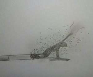 cigarrete, draw, and pencil image