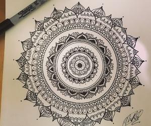 black, zentangle, and creative image