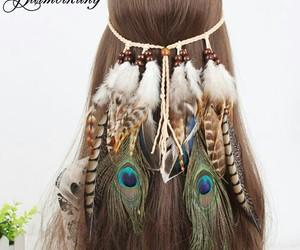 feather, girl, and headband image