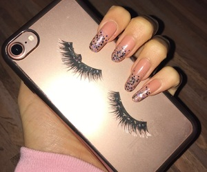 glitter, iphone, and lashes image