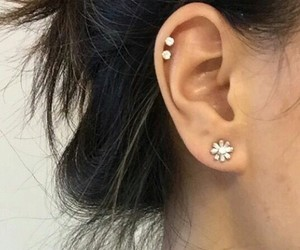 piercing, diamond, and ear image