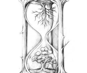 drawing, hourglass, and tattoo image
