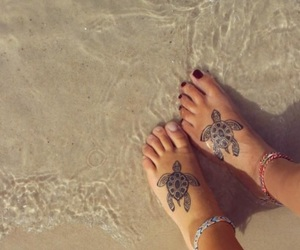 beach, tattoo, and turtle image