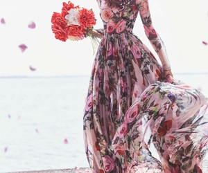 dress, flowers, and fashion image