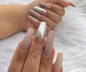 nails, taupe, and gel nails image