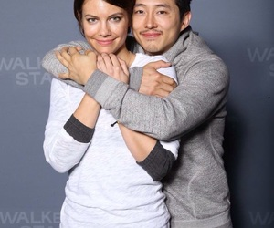 the walking dead, steven yeun, and lauren cohan image