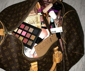 makeup, bag, and beauty image