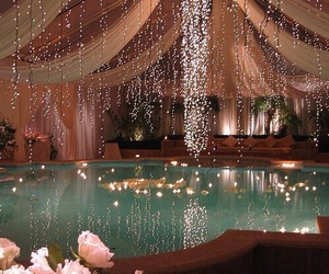 flowers, lights, and water image