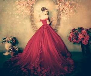dress, red, and wedding image