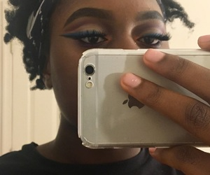 makeup, wing liner, and lashes image