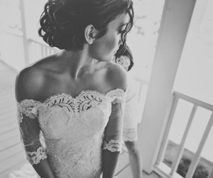 black and white, bride, and fashion image