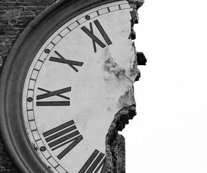 clock, black and white, and time image