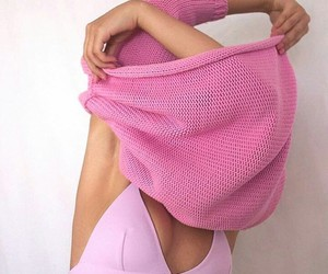 pink, sweater, and bra image