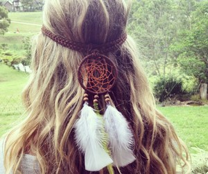 dream catcher, girl, and hair image