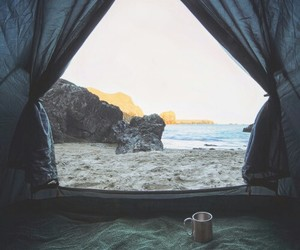 sea, tent, and travelling image