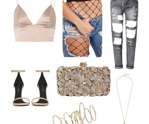 beige, fashion, and fishnets image