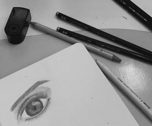 art, bw, and eye image