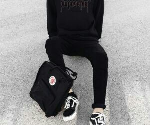 black, vans, and outfit image