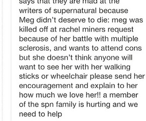 meg, supernatural, and winchesters image