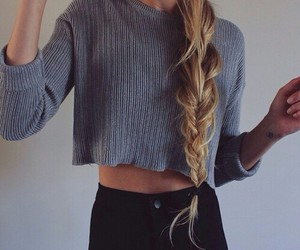 blonde, braid, and clothes image