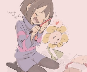 art, frisk, and flowey image