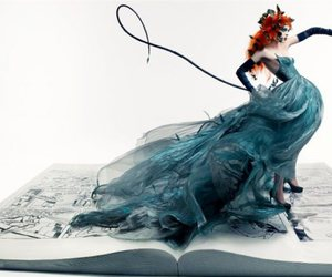 Coco Rocha, blue, and book image