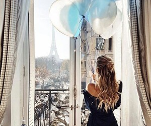 girl, paris, and balloons image