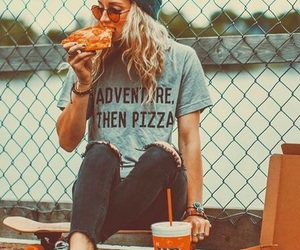 girl, pizza, and adventure image