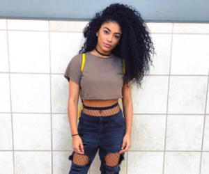 curly hair, fashion, and makeup image