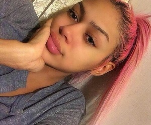 no makeup, all natural, and pink hair image