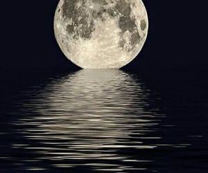 moon, night, and ocean image