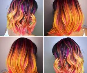 colorful, girl, and hair style image