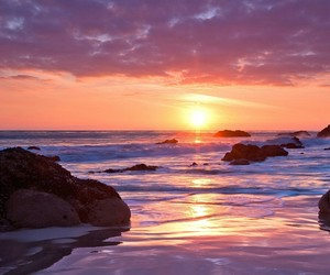 earth, sunset, and shore image