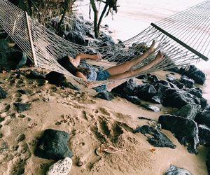beach, girl, and hawaii image
