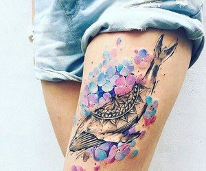 tattoo, flowers, and whale image