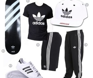 black and white, adidas pants, and adidas sneakers image