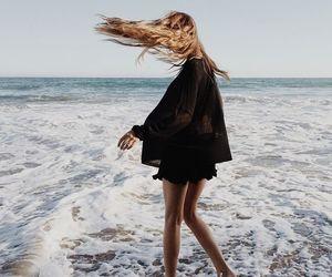 beach, girl, and ocean image