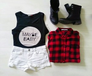 flannel, grunge, and outfit image