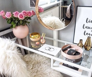 room, makeup, and flowers image