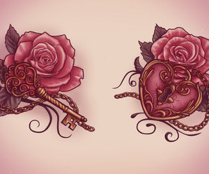 tattoo, rose, and key image