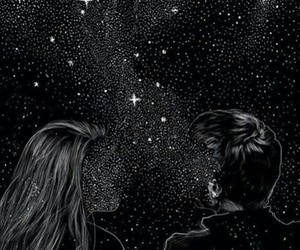 stars, couple, and art image