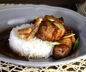 rice, filipino food, and pork belly image