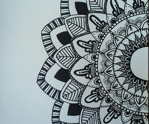 black and white, flower, and mandala image