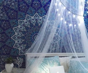 blue, bedroom, and light image