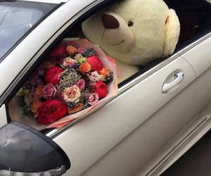 flowers, car, and bear image
