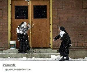 nun, funny, and snow image