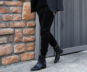 black, boots, and blazer image