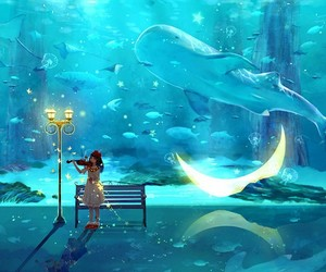 anime and ocean image